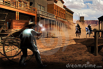 Gunfight in town