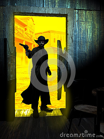 Free Gunman Entering In The Saloon Stock Photography - 73471052