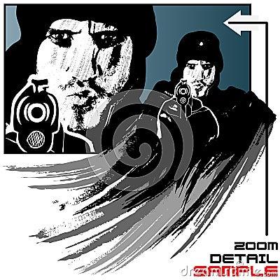 Gunman vector illustration in grunge style