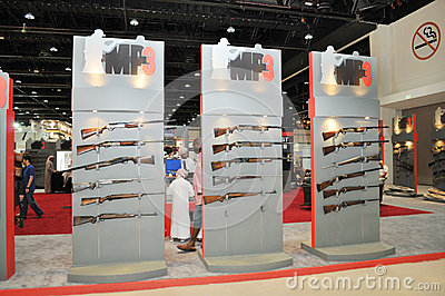 Guns display in MP3 pavilion at Abu Dhabi International Hunting and Equestrian Exhibition 2013 Editorial Image