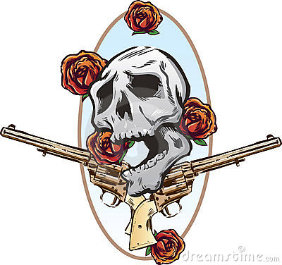 Guns roses and pistols tattoo style illustration