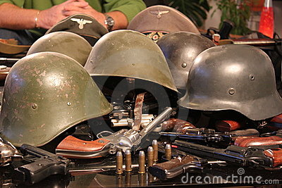 guns and war helmets