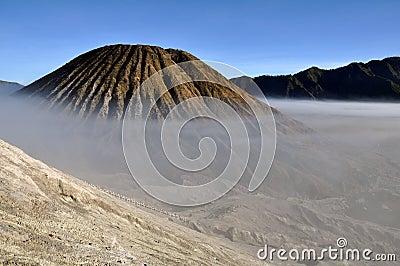 Gunung Bromo valley in fog