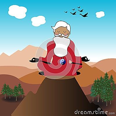 Guru on the top of a mountain