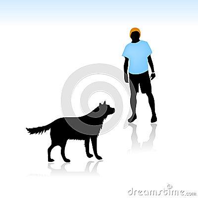 Guy afraid of dog