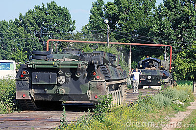 Guy conducting a big Panzer tank Editorial Stock Photo
