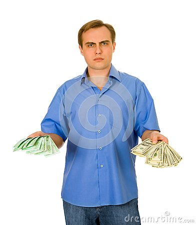 Guy with dollars and euros. Isolated on white.