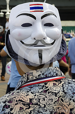 Guy Fawkes mask with Thai Flag Editorial Photography