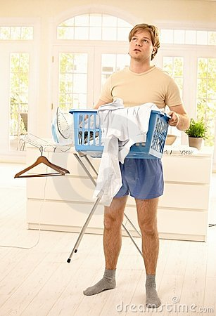 Guy fed up with housework