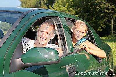 Guy and girl in car