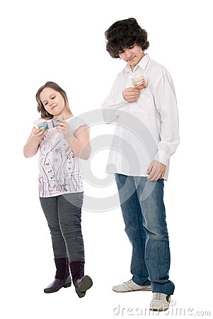 Guy and girl consider money
