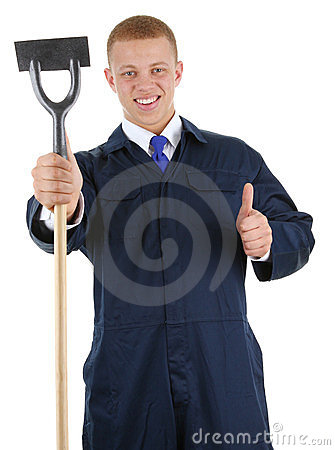A guy with a hoe