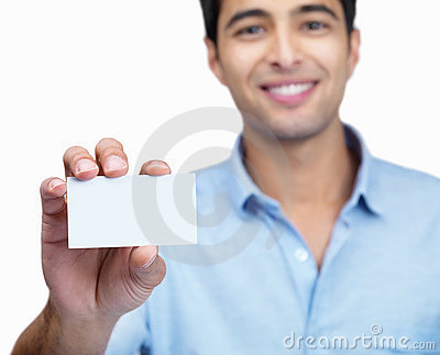 Guy holding an empty placard on white background