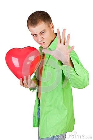 Guy holding a red heart