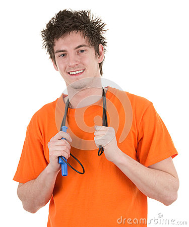 Guy holding a skipping rope