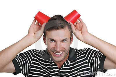 Guy holds a paper glass in a head