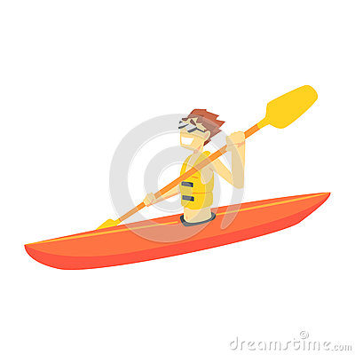 Free Guy Kayaking, Part Of Teenagers Practicing Extreme Sports For Recreation  Stock Image - 88358511