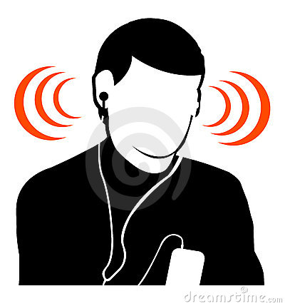 Guy listening music at high volume