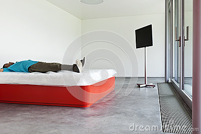 Guy lying on the bed