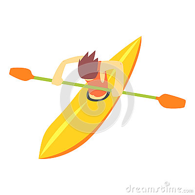Free Guy On White Water Kayak, Part Of Teenagers Practicing Extreme Sports For Recreation Set Of Cartoon Characters Stock Photos - 88359303