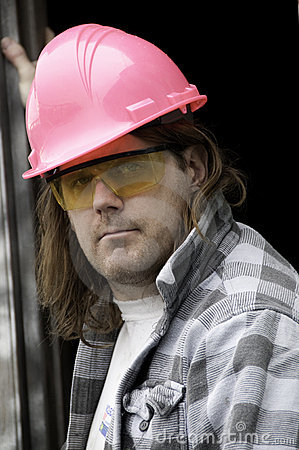 Guy in Pink Hardhat