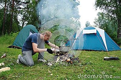 Guy plants a fire