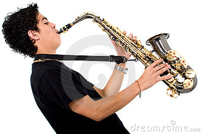 Guy playing the saxophone