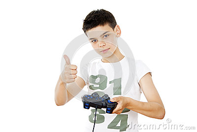 Guy Plays With A Joystick Royalty Free Stock Image - Image: 25878206