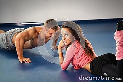 Guy pushing up on floor