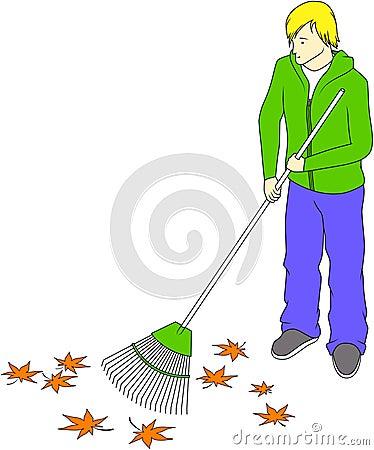 Guy raking leaves