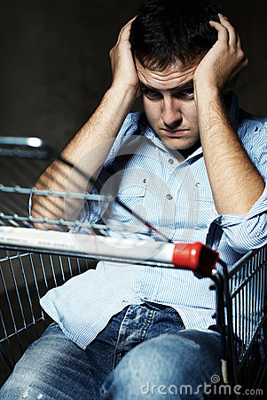 Guy in shopping cart