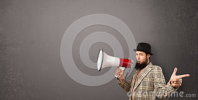 Guy shouting into megaphone