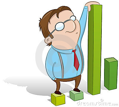 Guy showing statistics