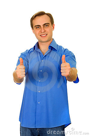 Guy showing two thumbs up. Isolated on white.