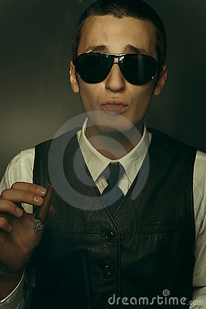 Guy smoking cigar