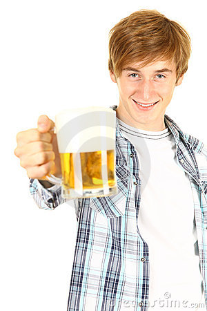 Guy toasting with beer