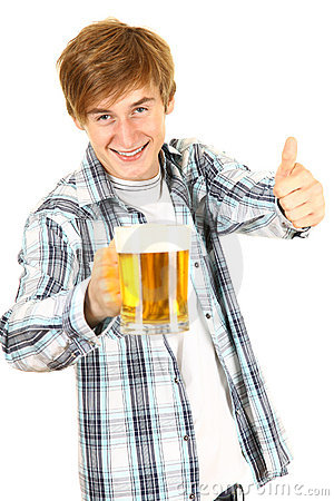 Guy toasting with a glass of beer