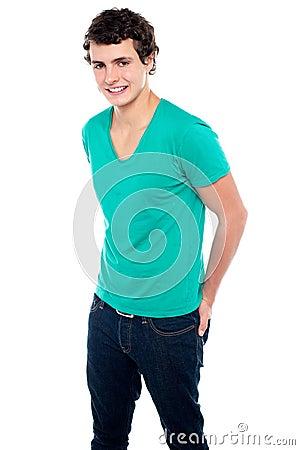 Guy in trendy casual wear posing in style