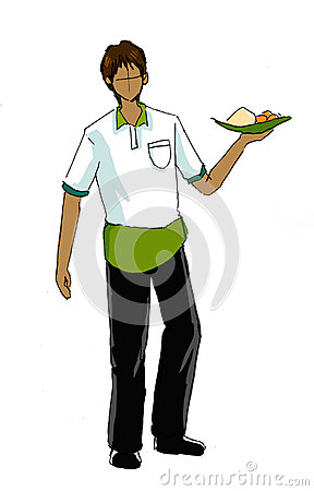 Guy in waiter uniform illustration