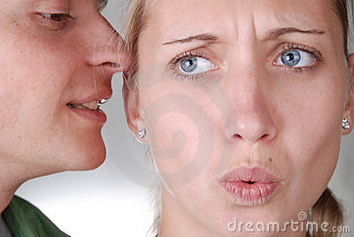 A guy whispering something strange and interesting