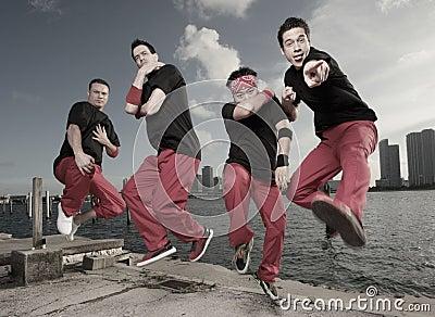Guys jumping