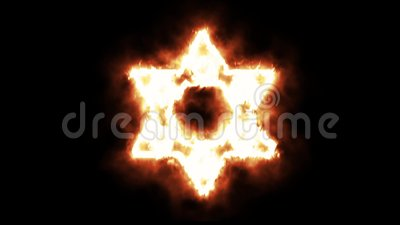 Gwiazda Dawidowa symbol Zaświeca up i Pali w płomieniach