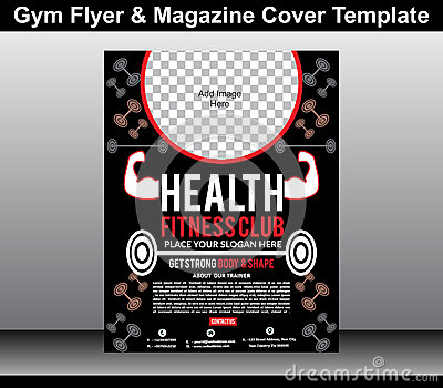 gym flyer magazine cover template stock vector image 46843231. Black Bedroom Furniture Sets. Home Design Ideas