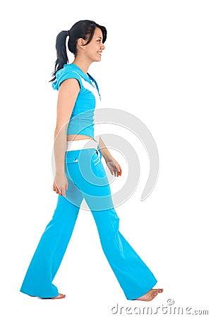 Gym girl walking
