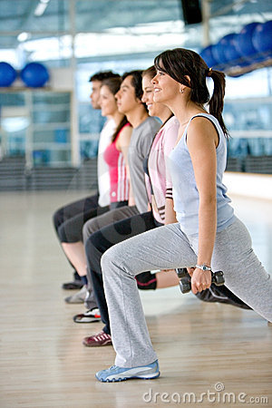 Gym group exercising