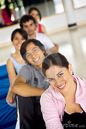 Gym group smiling