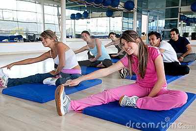 Gym group stretching