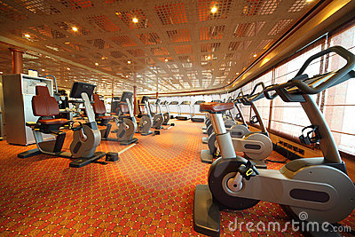 Gym hall with exercise bicycle in cruise ship