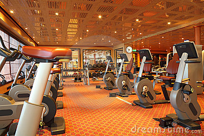 Gym hall with running tracks, exercise bicycle