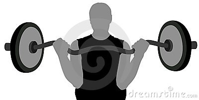 Gym man with barbell